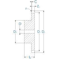 Kettenrad 16B-1 DIN 8187