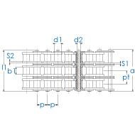 Dreifach-Rollenkette nach DIN 8187 für Kettenrad und Kettenradscheibe