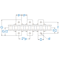 Rollenkette 20B-1-K1x2 DIN 8187