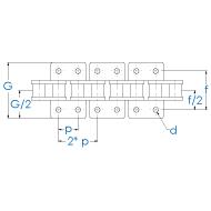 Rollenkette 12B-1-K2x2 DIN 8187