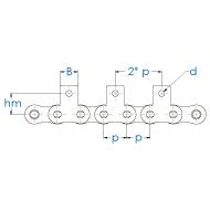 Einfach-Rollenkette mit beidseitiger Mitnehmerlasche nach DIN 8187