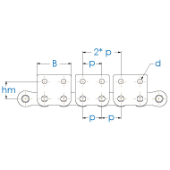 Einfach-Rollenkette mit einseitiger Mitnehmerlasche nach DIN 8187