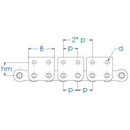 Rollenkette 12B-1-M2x2 DIN 8187